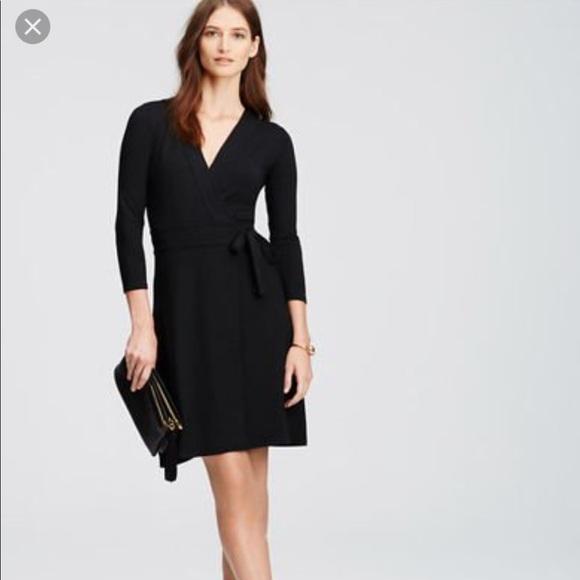 Ann Taylor Dresses Black Wrap Dress Size 12 Poshmark